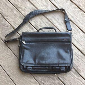 "TUMI alpha 16"" black leather laptop messenger bag"